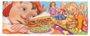 creativity, peer pressure, food, sharing, teasing, individuality, sandwiches, combinations, unique, bullying, teacher, school, social cooperation, nutrition, diet, making fun, confidence, food combinations and pairings, picky eaters, fairness, caring, respect, carla's sandwich, el sandwich de carla